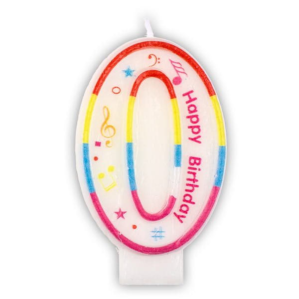 "Zahlenkerze ""0"" mit Happy-Birthday-Aufdruck"