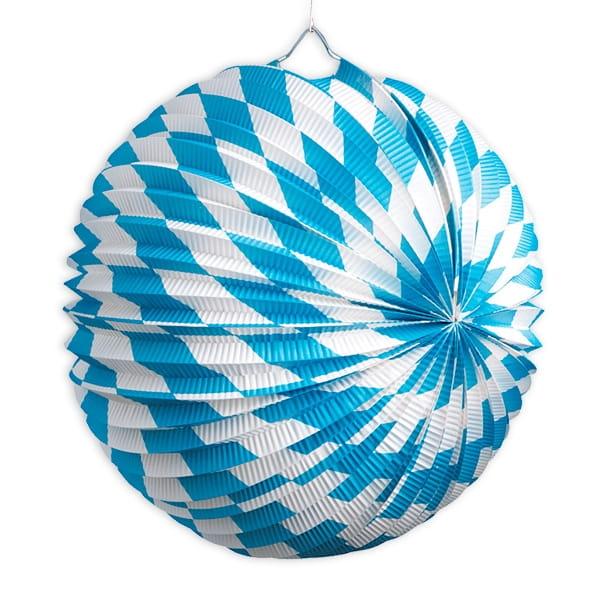Bayerische Laterne mit blau-weißen Rauten für Oktoberfest, rund, 25cm