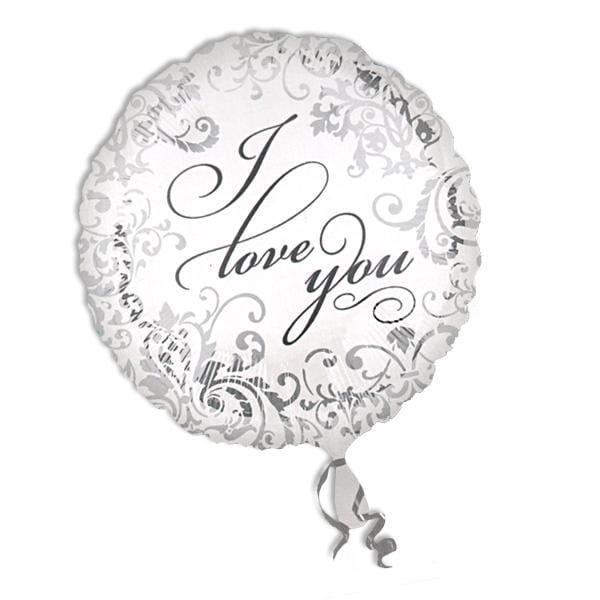 Folienballon rund, I Love You Hochzeitsballon, weiß/silbern, 35 cm