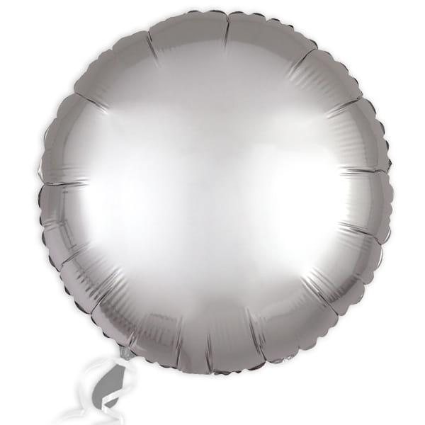 Folieballon rund Satin Luxe Platin-Silber, 34 cm