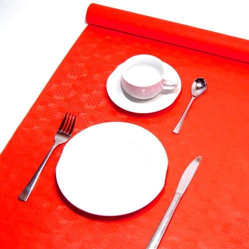 Tischdecke in Rot auf Rolle im hübschen Damastdesign, Papier, 8 x 1,2m