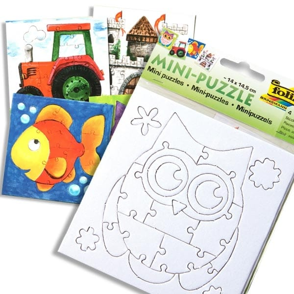 Mini Puzzle Set, 4 Stk, zum Anmalen und Puzzeln, zum Kindergeburtstag