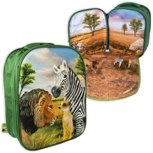 Rucksack mit Spielmatte und Figuren, Safari