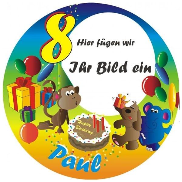 Tortenaufleger Geburtstagstraum mit Foto, Name u. Alter – rund