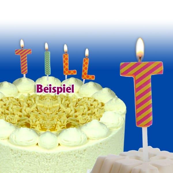 Mini Kerze Buchstabe T, 2,5cm, zum Kombinieren für Namen auf der Torte