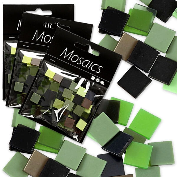 Großpack Mosaiks, 1 Packung mit 75g, Mosaiksteinchen in tollen Grüntönen