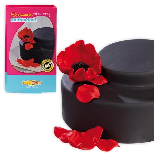 Rollfondant schwarz, 250g, schwarze Zuckermasse für Fooddeko-Ideen