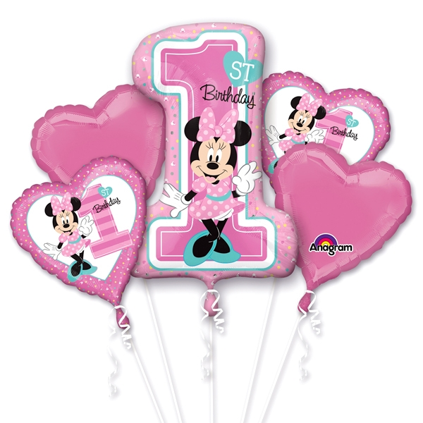 """""""Minnie Mouse 1. Geburtstag Mädchen"""" Ballon-Set, 5-teilig"""