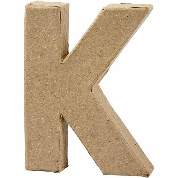 K Buchstabe, handgearbeitet aus Pappe, zum Bemalen/Bekleben, ca. 10 cm