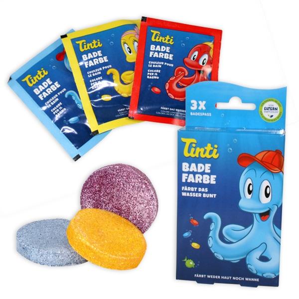 Tinti Badewasserfarbe 3er Pack, gelb, blau, rot, Badespass
