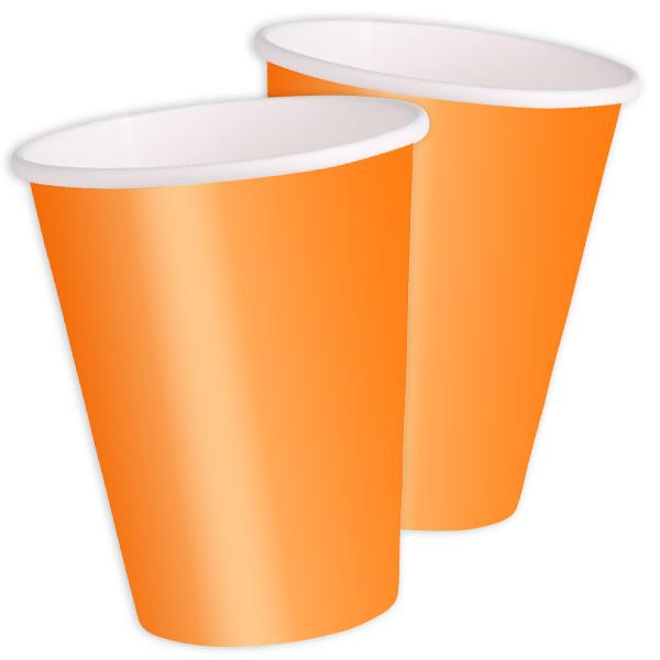 Partybecher Orange 8er Pack, 270 ml, universelle Pappbecher, einfarbig