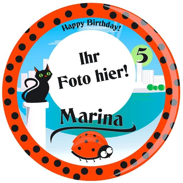 Mira Marienkäfer Tortenaufleger mit Foto, Name, Alter