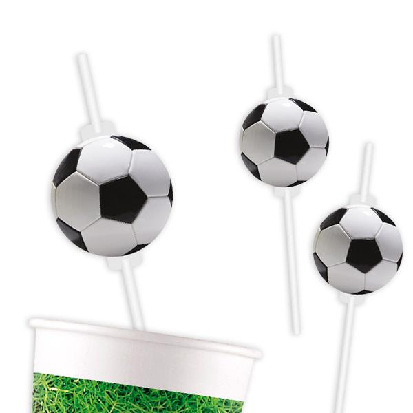 Fußball Trinkhalme mit Motiv, 4er Pack, Pappe