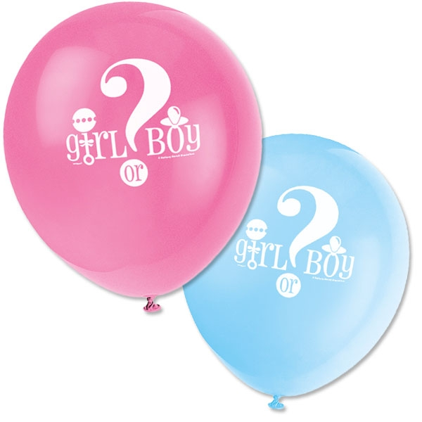 Babyparty-Ballons Girl or Boy 8Stk., neutrale Babyparty Deko, Latex