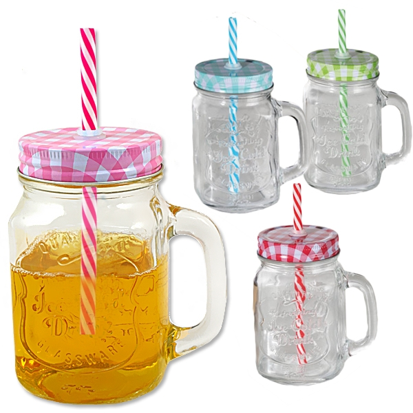 Getränkeglas mit Halm, 450ml, 1 Stk