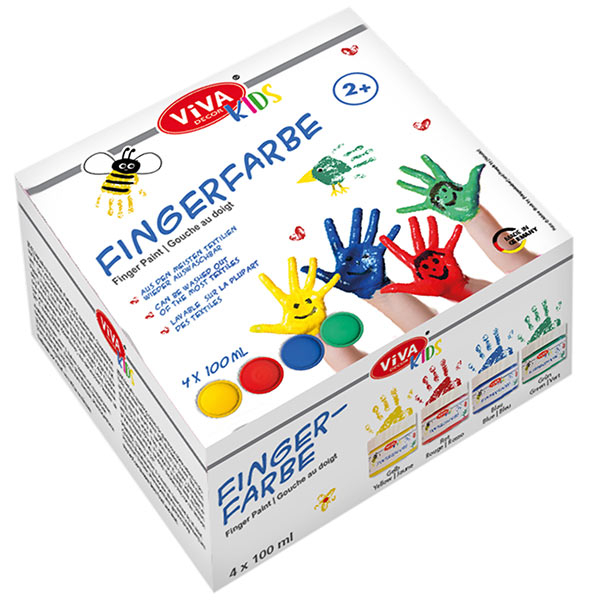 Fingerfarbenset Basic, 4x 100ml