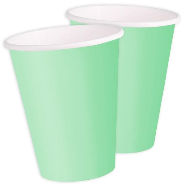 Partybecher, mintgrün, sehr hübsche Pappbecher für alle Partys, 14er Pack