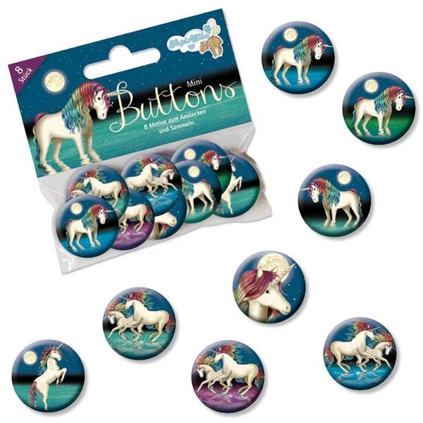 Lunabelle Mini Buttons, Einhorn-Anstecker für Mädchen im 8er Pack