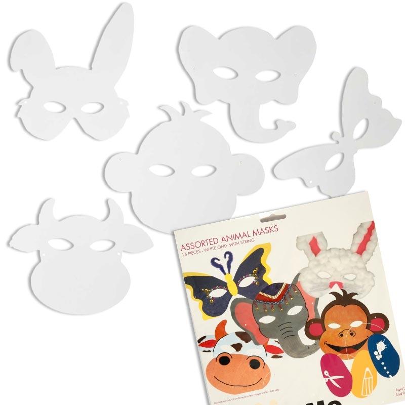 Tier-Masken in weiß, zum Gestalten, 16 Stück, verschiedene Motive, 14cm x 28cm