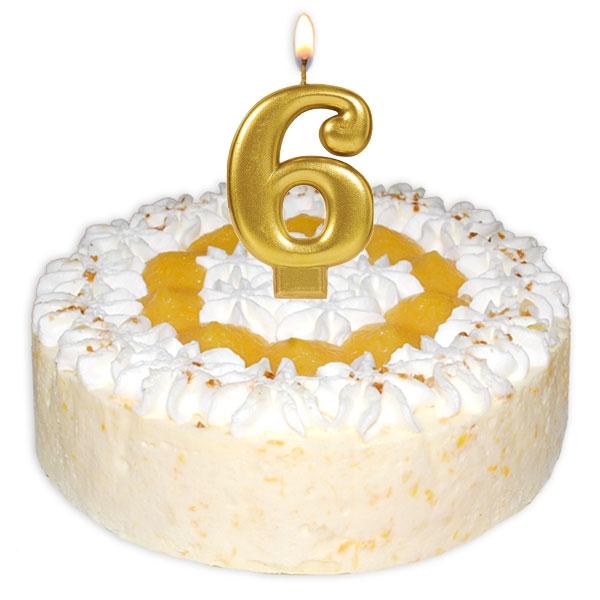 Zahlenkerze 6, große schimmernde Kerze in gold
