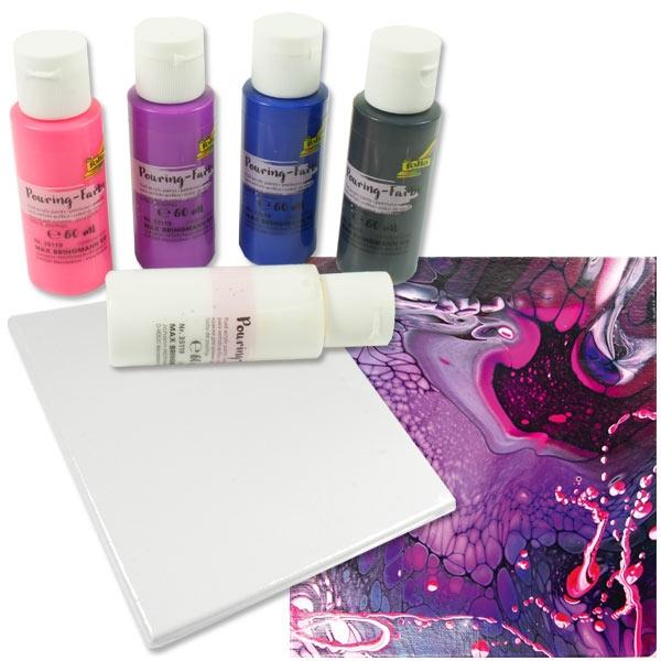 Pouring Kreativset BUNT, 5 Farben 1 Leinwand, mit Pouring-Medium