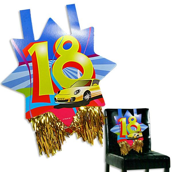 Stuhldeko 18. Geburtstag mit Auto-Motiv, ca. 31x71 cm