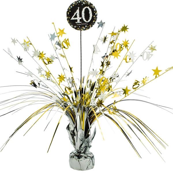 Sparkling Celebr. Tischkaskade 40. Geburtstag, golden, 46cm