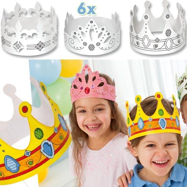 Kinderkronen zum Bemalen und Gestalten, 6 Stück in 3 Designs, für Jungen und Mädchen