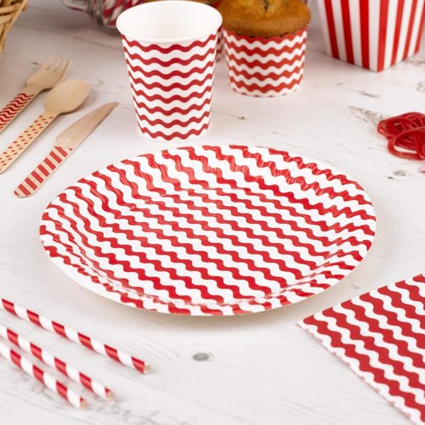 Teller mit roten Wellen, 8 Stück, 23cm