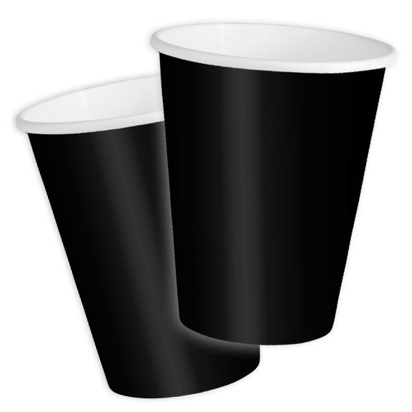 Pappbecher schwarz, 8 Stück, 270 ml