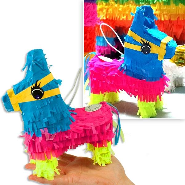 Pinata Esel Mini, Neon pink, blau, gelb, 1 Stk, 19,5cm