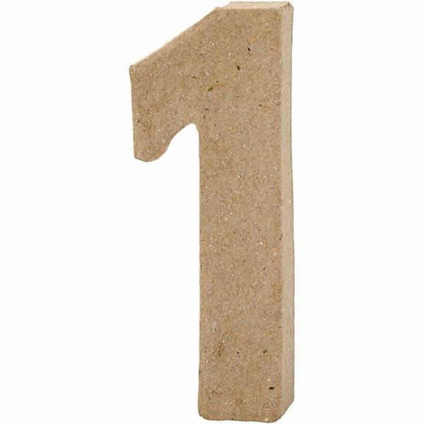 Zahl 1, handgearbeitet aus Pappe, zum Basteln, Bemalen, Verzieren