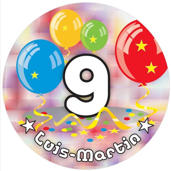Ballon-Tortenaufleger 9. Geburtstag mit Name, Alter – rund