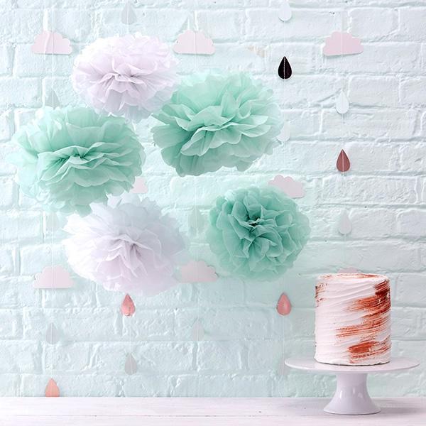 """""""Hello World"""" Pompons, flauschige Puffbälle aus Papier, 5 Stück, 33 cm"""