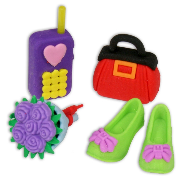Ratze Fun Set Lifestyle, 4 Radierer als Tasche, Blumen, Handy, Schuhe
