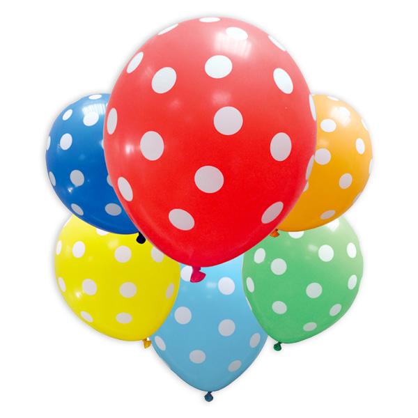 6 bunte Party-Ballons mit weißen Punkten, 30cm