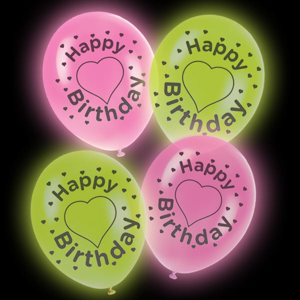 LED Luftballons Happy Birthday, pink & grün 4 Stk, 27,5cm
