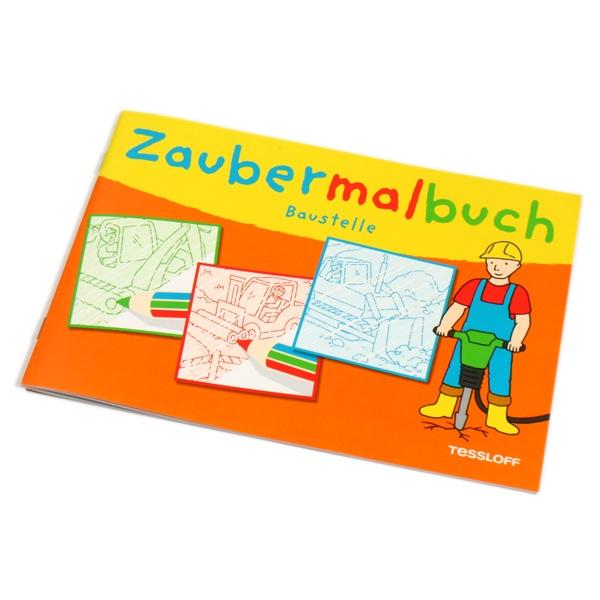 Baustelle Zaubermalbuch, 32 Seiten Zauberbilder mit Baufahrzeugen