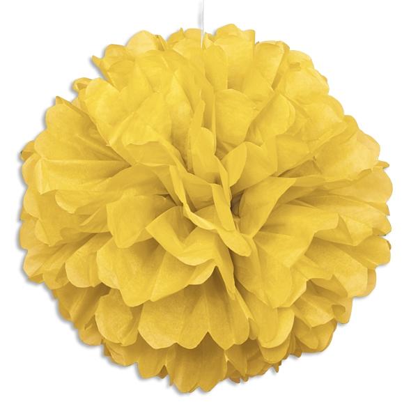 Puffball aus Papier in Gelb, 40cm, Pompom-Deko für alle Partys