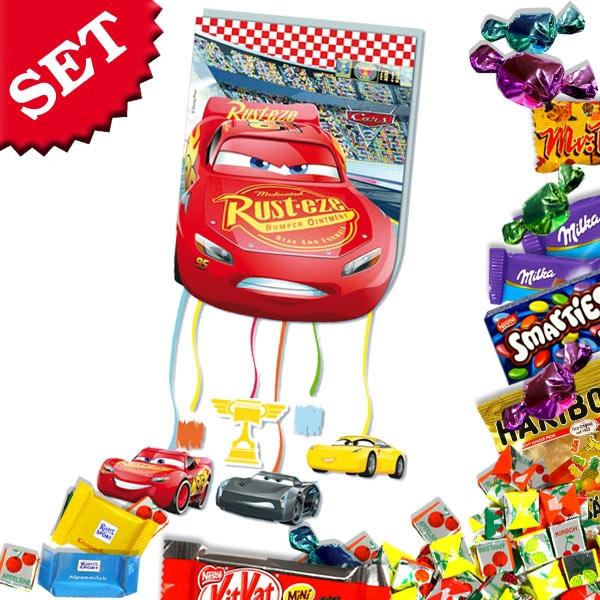 Pinata-Set Cars 3, Zugpinata mit rotem Rennwagen + süßer Füllung