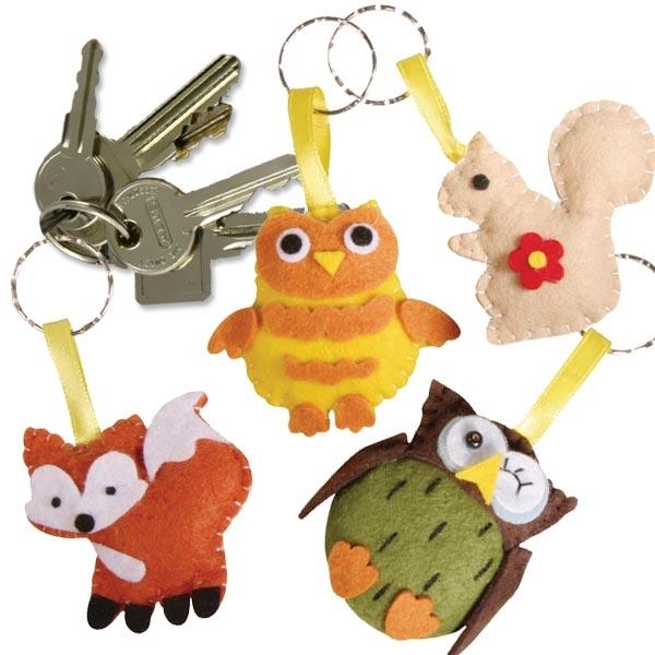 Waldtier Bastelbox für 4 Schlüsselanhänger, für Kids, Fuchs, Eule...