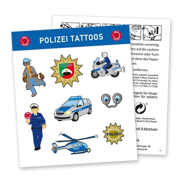 """Tattoobogen """"Polizei"""" mit 8 tollen Klebetattoos für Jungen & Mädchen"""