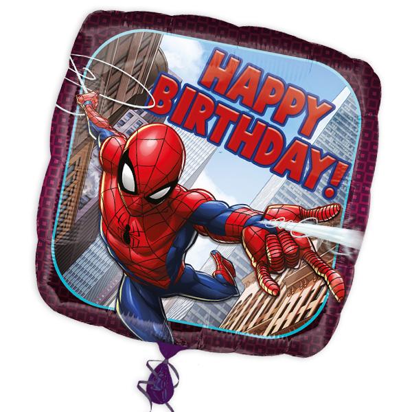 "Happy Birthday Folienballon ""Spiderman"", 34cm x 34cm"