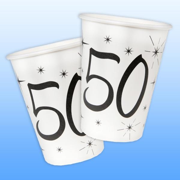 Becher zum 50. Geburtstag, 200 ml, 10 Pappbecher für 50. Jubiläum