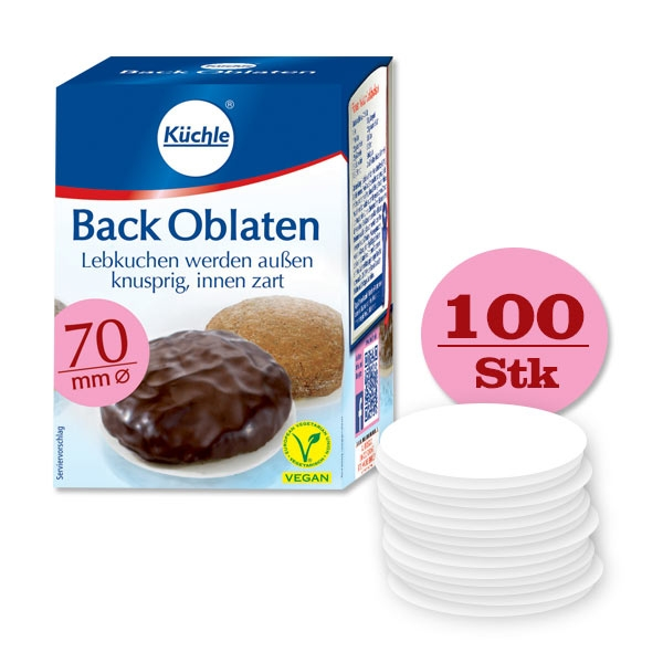 Backoblaten 100er Pck, Ø 70mm, hält frisch