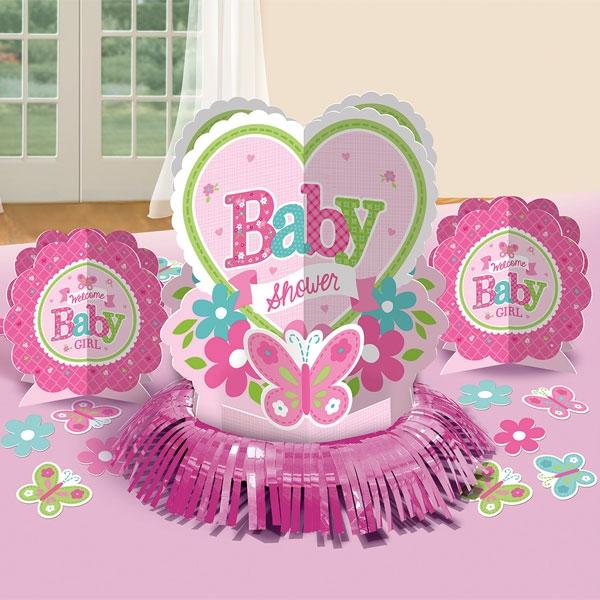 Welcome Baby Girl - Tischdeko-Set, 3 Teile plus Konfetti, Baby Shower-Party
