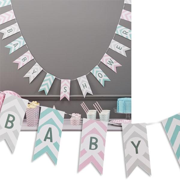 Baby Shower, Wimpelkette, 3,5m, Deko für Babyparty