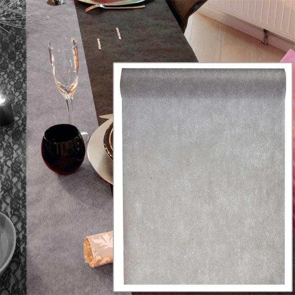Tischläufer in Grau, 10m, Vlies, universell einsetzbar Tischdeko