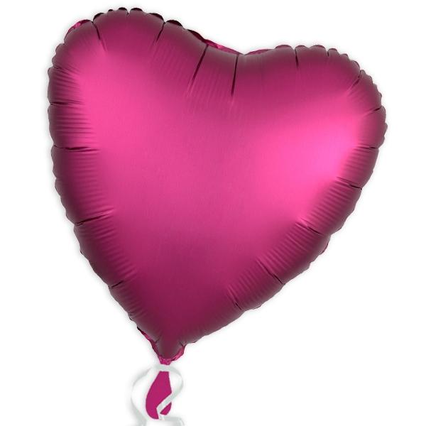 Pinkfarbener Herzballon aus Folie, 34cm, als Deko oder Geschenk, 1 Stk.