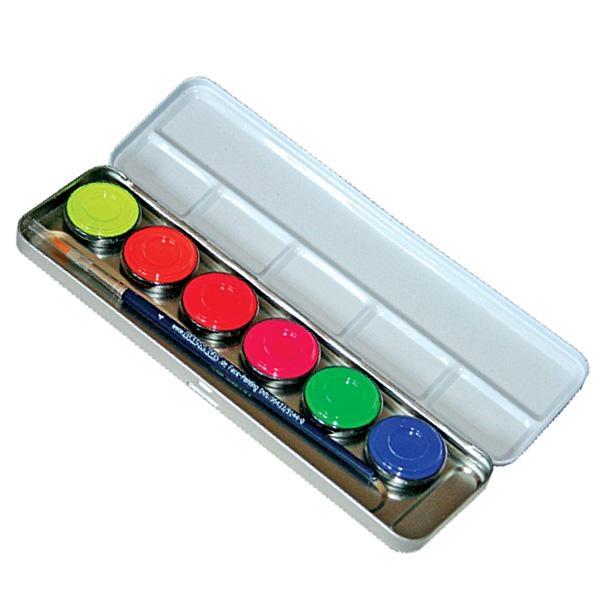 Neonfarben für Disko & Party, 6 Neonfarben in Metall-Palette, leuchten unter Schwarzlicht, mit 1 Profi-Pinsel